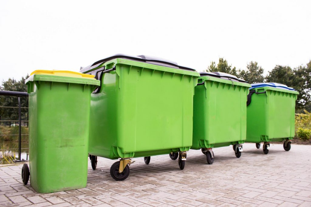big and small rental dumpsters ready for services